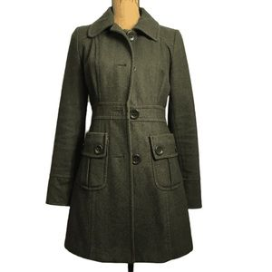 Tulle Anthro Olive Wool Career Casual Pea Coat S